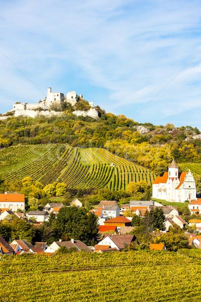 Ruiny zamek jesienią obniżyć Austria budynku Zdjęcia stock © phbcz