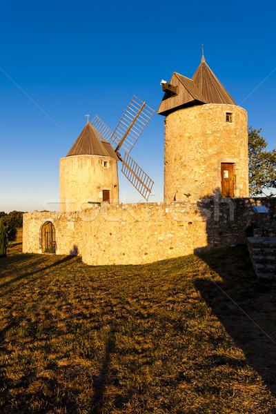 Franciaország épület utazás építészet Európa szélmalom Stock fotó © phbcz