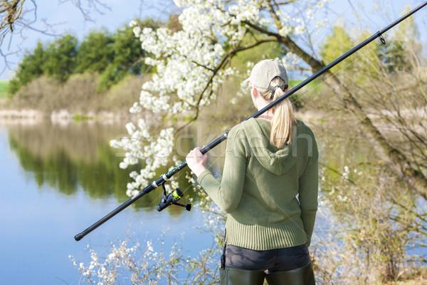 женщину рыбалки пруд весны женщины Hat Сток-фото © phbcz