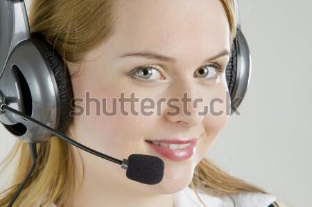 Portre kadın telefon çalışmak mikrofon çalışma Stok fotoğraf © phbcz