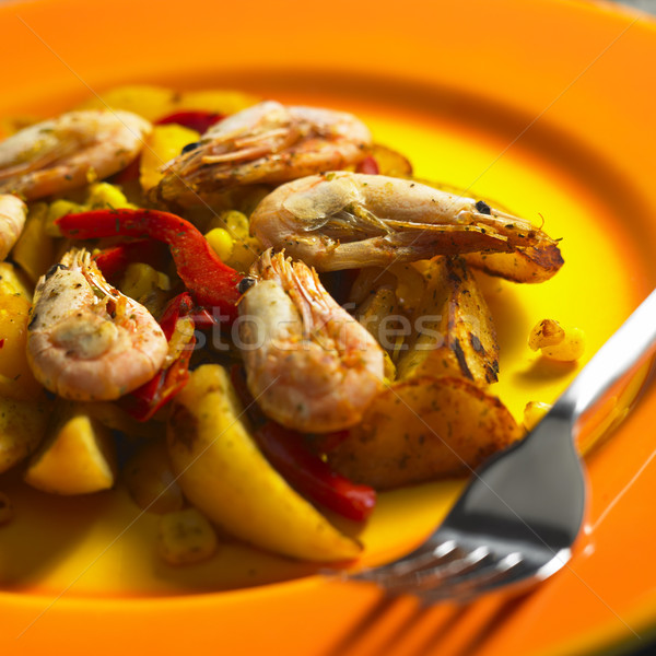 vegetables mixture with prawns and potatoes Stock photo © phbcz