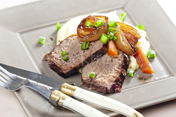 Sığır eti güveç havuç patates et bıçak yemek Stok fotoğraf © phbcz