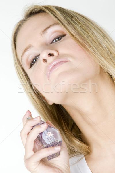 Portret kobieta perfum piękna butelki młodych Zdjęcia stock © phbcz