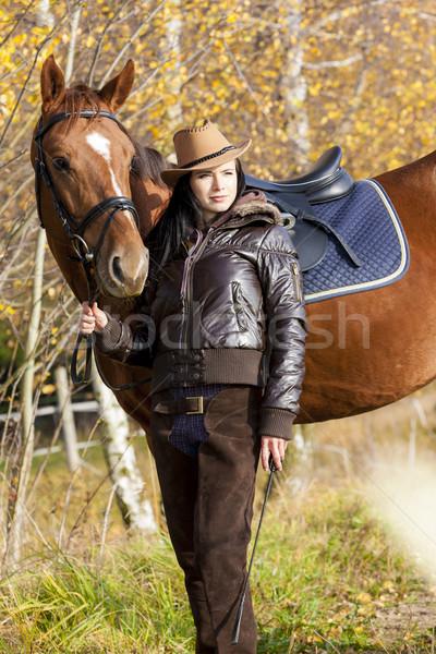 Lovas ló őszi természet nők fiatal Stock fotó © phbcz