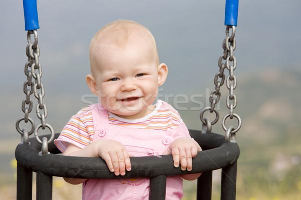 Kislány ül hinta gyerekek gyermek lányok Stock fotó © phbcz