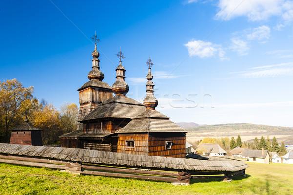Fából készült templom múzeum falu Szlovákia épület Stock fotó © phbcz