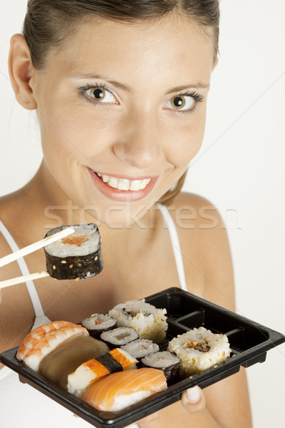 portrait of woman with sushi Stock photo © phbcz