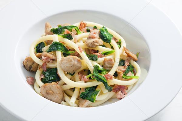 Maccheroni Turchia carne spinaci piatto verdura Foto d'archivio © phbcz