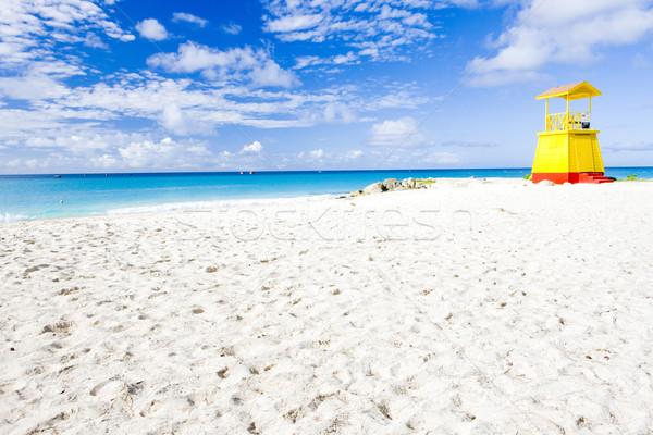 ストックフォト: キャビン · ビーチ · バルバドス · カリビアン · 海