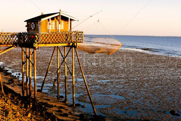 fishing house with fishing net, Gironde Department, Aquitaine, F Stock photo © phbcz
