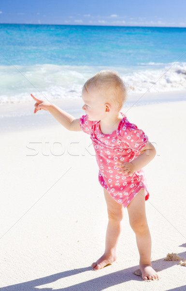 toddler on the beach, Foul Bay, Barbados, Caribbean Stock photo © phbcz