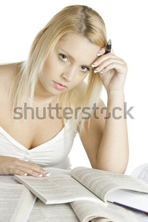 ストックフォト: 学生 · 肖像 · 女性 · 図書 · 図書 · 教育