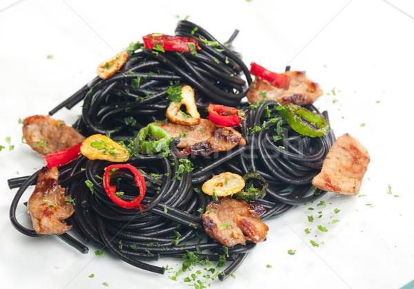 Sepia spaghetti Turcja mięsa chili żywności Zdjęcia stock © phbcz