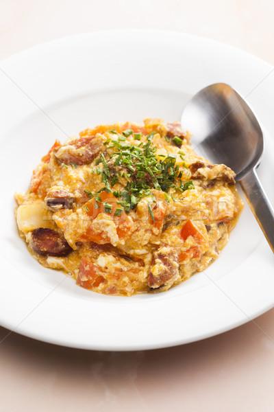 еды смесь овощей яйца колбаса яйцо Сток-фото © phbcz