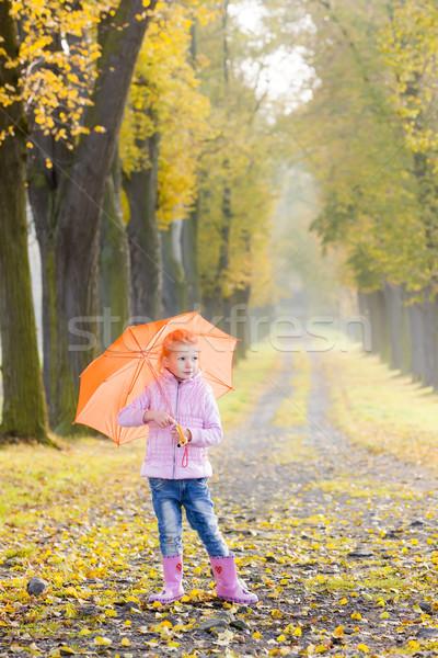 Küçük kız şemsiye sonbahar geçit kız çocuk Stok fotoğraf © phbcz