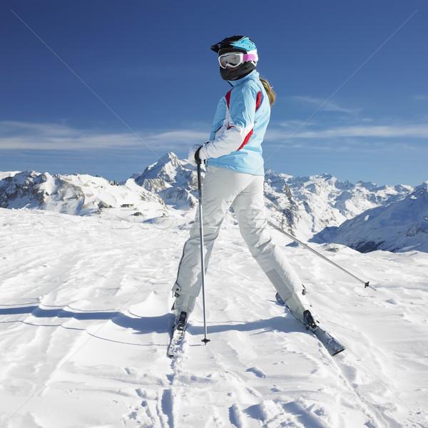 Stockfoto: Vrouw · skiër · alpen · bergen · Frankrijk · landschap