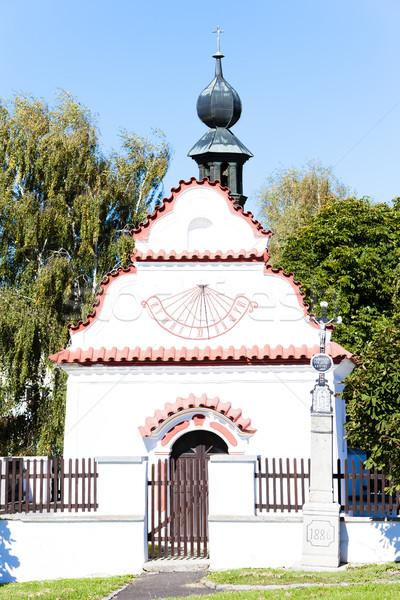 Kościoła zegar słoneczny zegar Czechy architektury historii Zdjęcia stock © phbcz