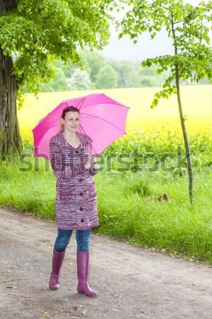 женщину зонтик весны аллеи Сток-фото © phbcz
