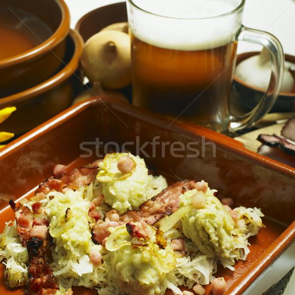 南 自由奔放な キャベツ 食品 ビール プレート ストックフォト © phbcz