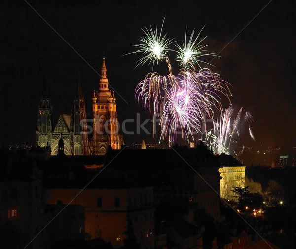 New Year''s fireworks, Hradcany, Prague, Czech Republic Stock photo © phbcz