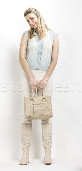 Permanente vrouw zomer laarzen handtas Stockfoto © phbcz