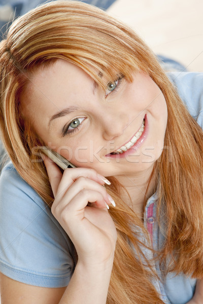 telephoning woman''s portrait Stock photo © phbcz