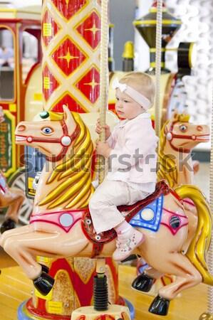 座って 回転木馬 子 若者 再生 ストックフォト © phbcz