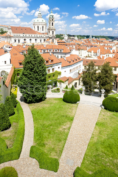 Stock photo: Vrtbovska Garden and Saint Nicholas Church, Prague, Czech Republ