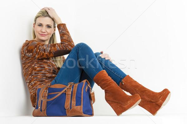 Vergadering vrouw modieus bruin Stockfoto © phbcz