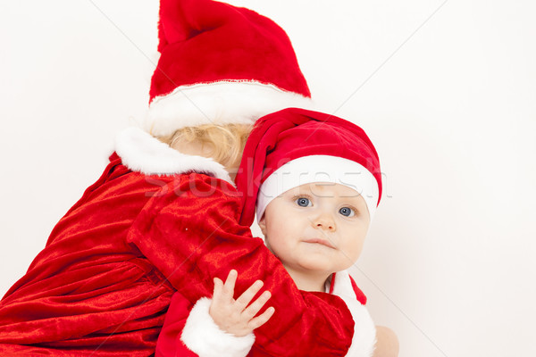 two little girls as Santa Clauses Stock photo © phbcz
