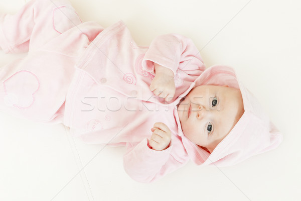lying three months old baby girl Stock photo © phbcz