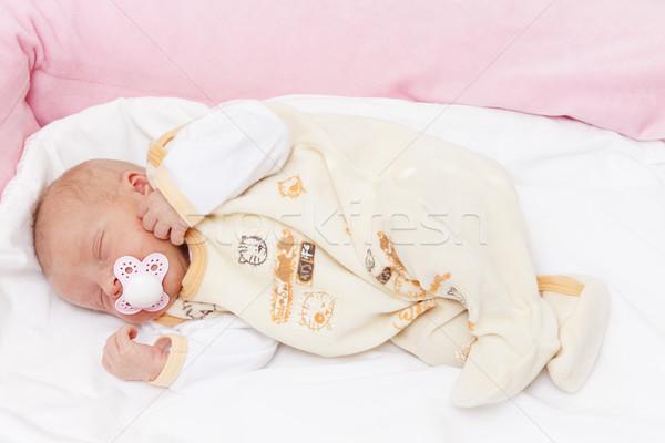sleeping newborn baby girl Stock photo © phbcz