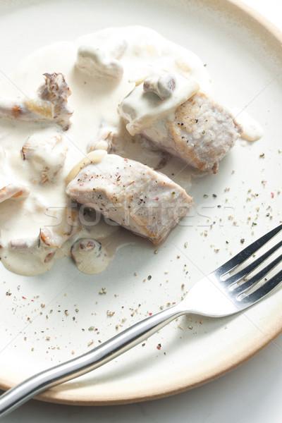 Carne de porco cogumelos cremoso molho prato refeição Foto stock © phbcz