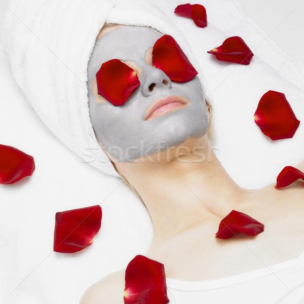 Zdjęcia stock: Kobieta · maska · wzrosła · kwiaty · twarz · piękna