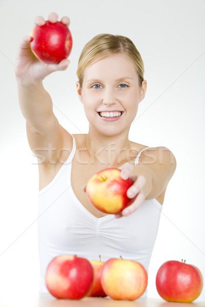 Stock fotó: Nő · almák · egészség · gyümölcsök · fiatal · egyedül