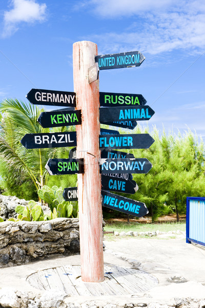 guidepost, North Point, Barbados Stock photo © phbcz