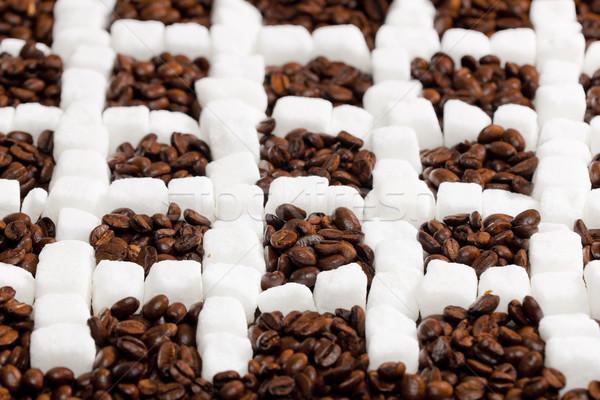 Photo stock: Still · life · café · sucre · grains · de · café · carré · brun