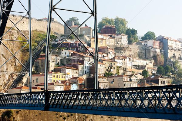 Dom Luis I Bridge and quarter of Ribeira, Porto, Portugal Stock photo © phbcz