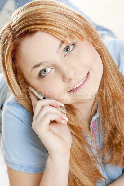 telephoning woman's portrait Stock photo © phbcz