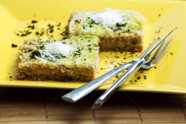 Repolho lasanha fumado carne comida queijo Foto stock © phbcz