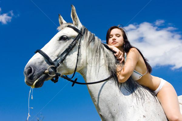 Lovas lóháton nő ló bikini állatok Stock fotó © phbcz