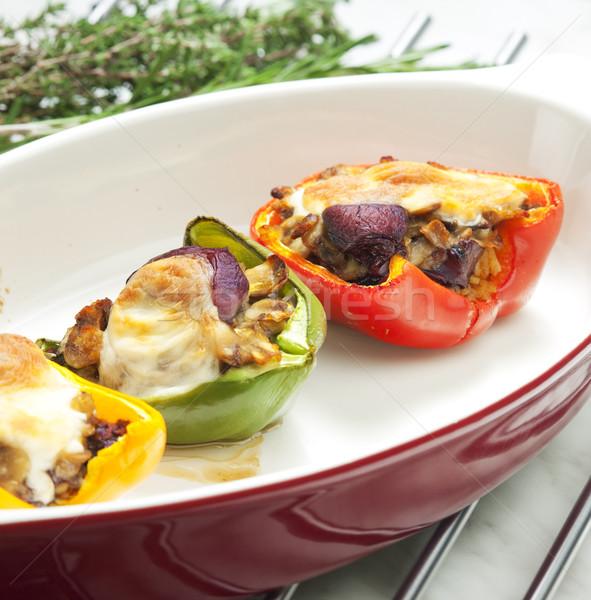 Zdjęcia stock: Papryka · kurczaka · mozzarella · ser · żywności