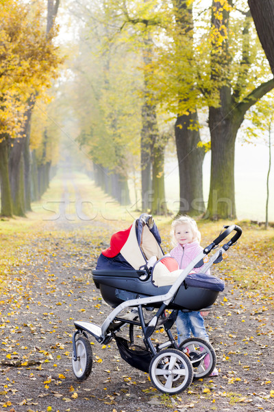 little girl with a pram on walk in autumnal alley Stock photo © phbcz