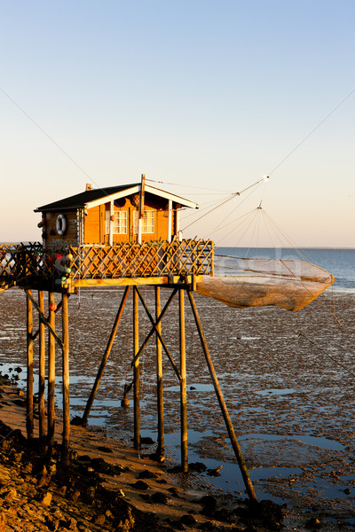 fishing house with fishing net, Gironde Department, Aquitaine, F Stock photo © phbcz