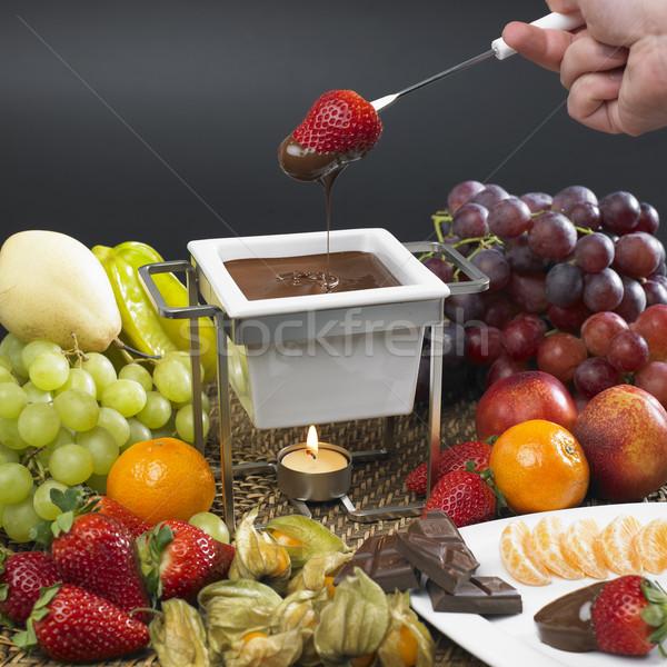 chocolate fondue Stock photo © phbcz