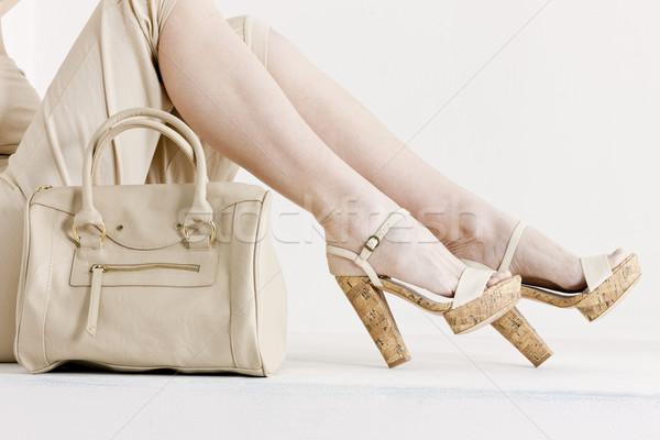 Stock fotó: Részlet · ül · nő · visel · nyár · ruházat