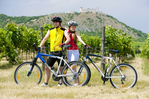 bikers, ruins of Devicky castle with vineyard, Czech Republic Stock photo © phbcz