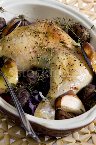 Poulet vin alimentaire jambes fourche jambe Photo stock © phbcz