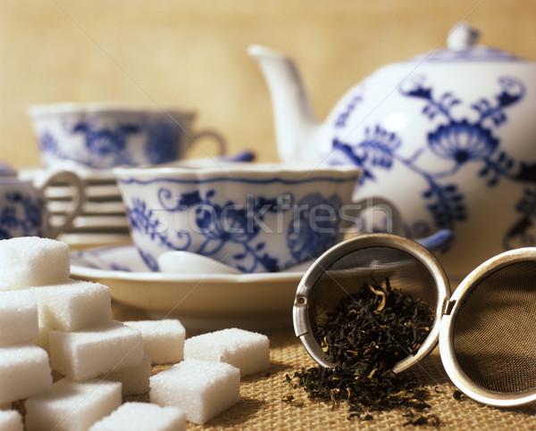 чай набор пить горячей Sweet сахар Сток-фото © phbcz
