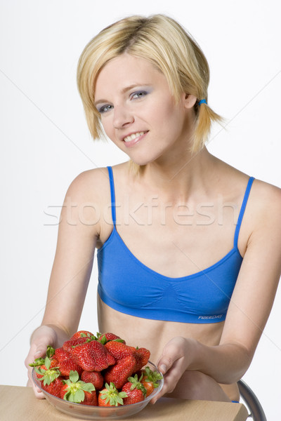 woman with strawberries Stock photo © phbcz